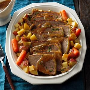 Slow Cooker Sauerbraten Recipe -My family is of German Lutheran descent, and although we enjoy this traditional beef roast, I never liked the amount of time and fuss it takes to make it. This recipe is so good and oh-so-easy. It's great served with dumplings, spaetzle, veggies or a salad. —Norma English, Baden, Pennsylvania