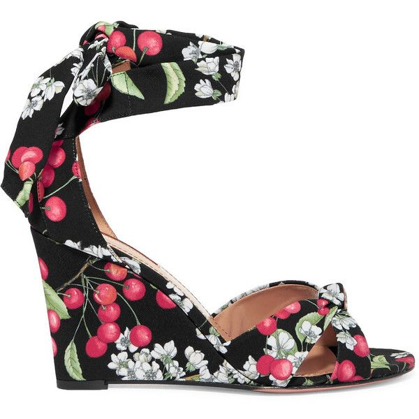 AquazzuraAll Tied Up Printed Canvas Wedge Sandals ($530) via Polyvore featuring shoes, sandals, black, summer wedge sandals, canvas shoes, multi coloured sandals, canvas sandals and wrap around sandals