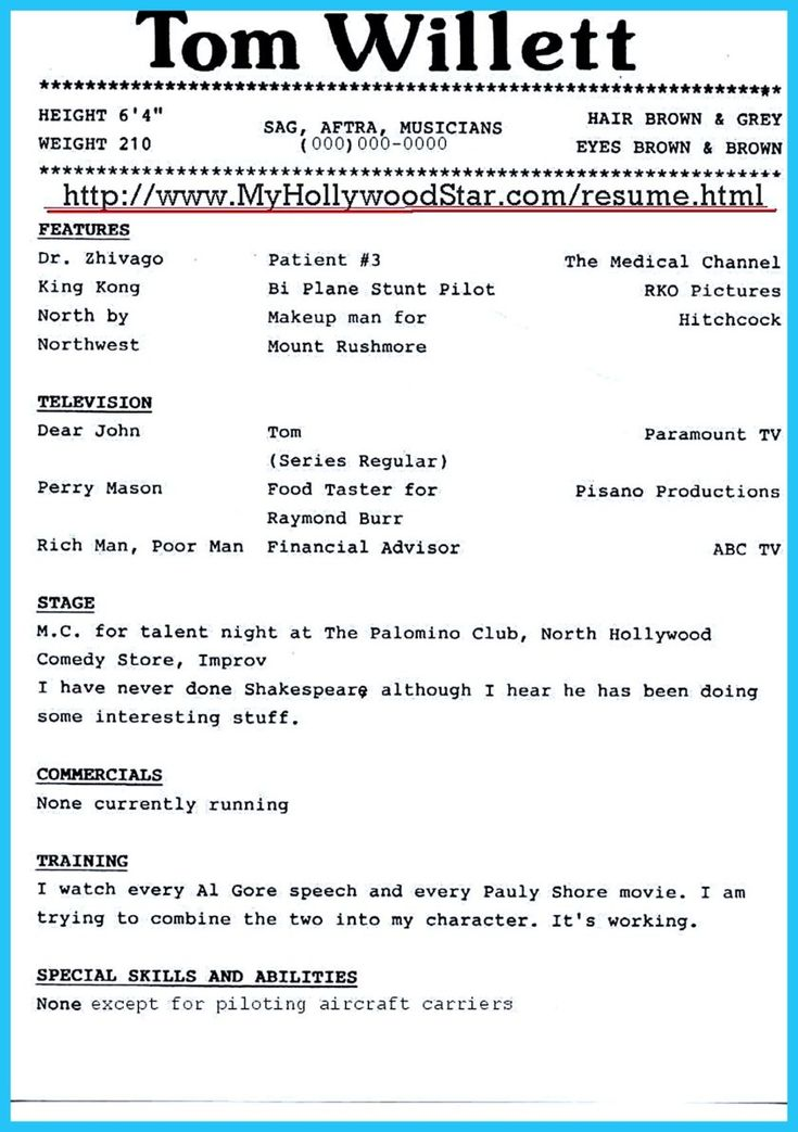 actor sample resumes acting resume template free download 10 actor