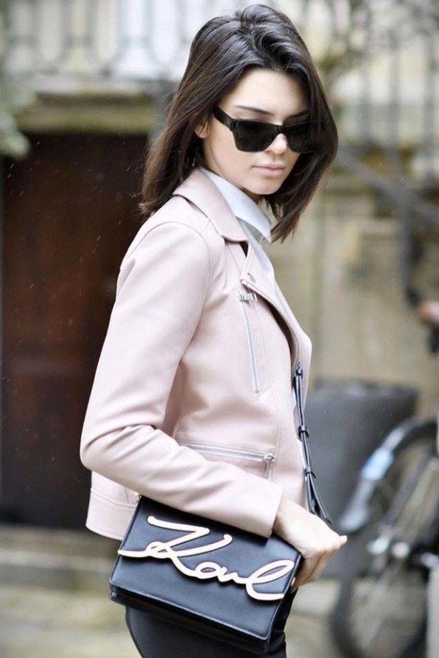 Kendall Jenner wearing  Karl Lagerfeld K/Signature Shoulder Bag, Karl Lagerfeld Ikonik Biker Jacket
