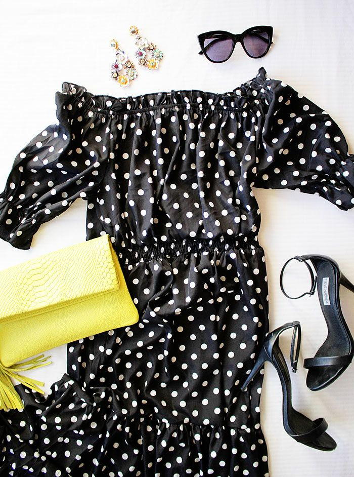Polka Dot off the shoulder dress with neon clutch