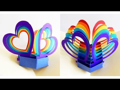 Pop up card (twin hearts) - learn how to make a popup heart greeting card - EzyCraft - YouTube