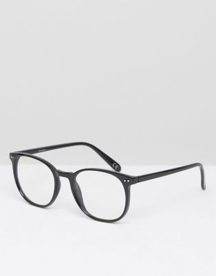 ASOS Geeky Round Clear Lens Glasses in Shiny Black