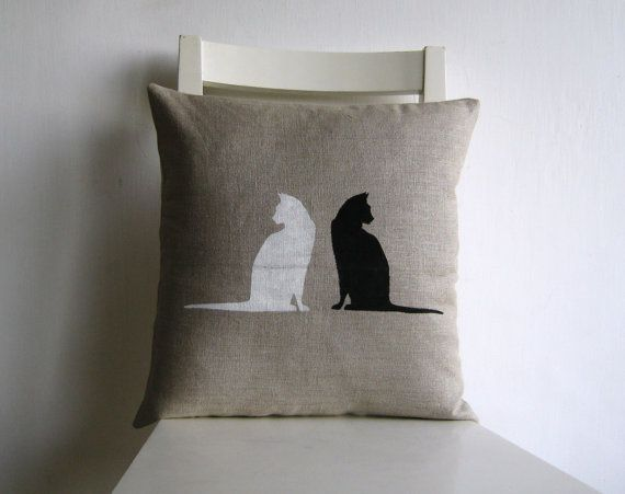 White cat Black Cat  print 16 x 16 linen cushion cover by pillow1, $21.00
