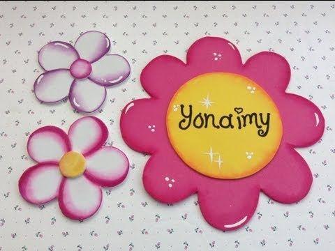 Flores de goma Eva paso a paso - como hacer matices en las flores - YouTube