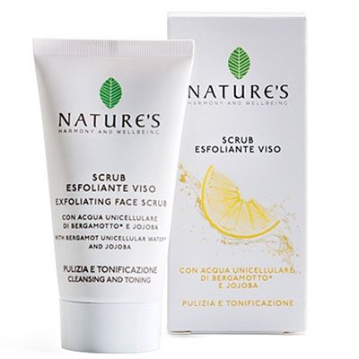 UNICELLULAR WATER EXFOLIATING FACE SCRUB Exfoliating Face Scrub with Organic Bergamot Unicellular Water and Jojoba. Scrub cream with very fine exfoliating particles to remove dead cells and clear pores of impurities.