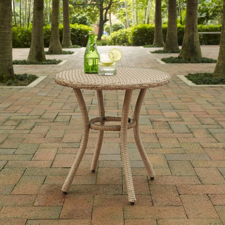 Palm Harbor Outdoor Wicker Round Side Table In Lt Brown From Crosley