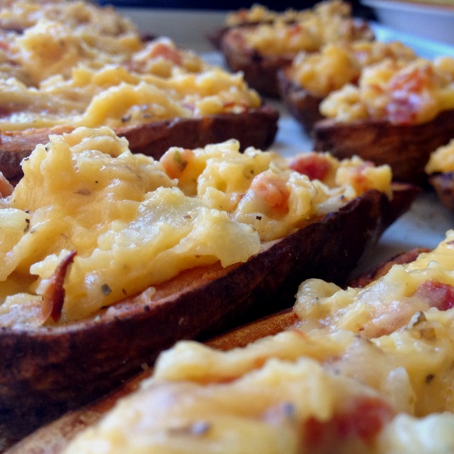 Twice Baked Potato Skins Pork Belly / Sharp Cheddar / Herbs De Provence