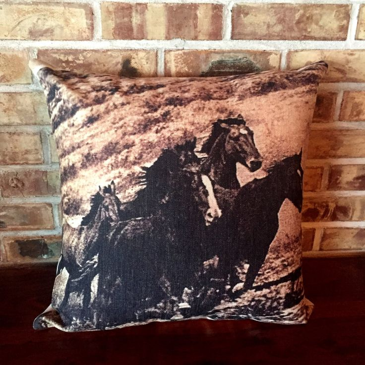 Rustic Modern Wild Horses 1 Pillow Cover by HorseEyeDesigns on Etsy