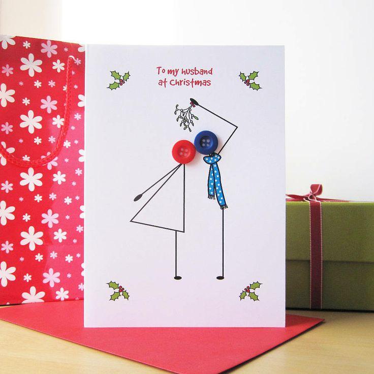 'mistletoe' button christmas card by mrs l cards | notonthehighstreet.com