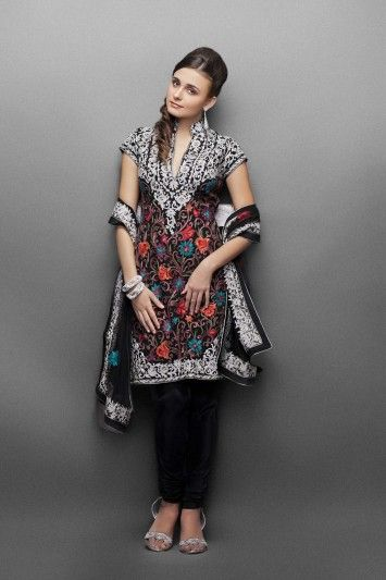 Black georgette suit with silver & multi color embroidery- Front