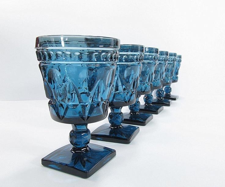 vintage blue water glasses goblets - Water Goblets