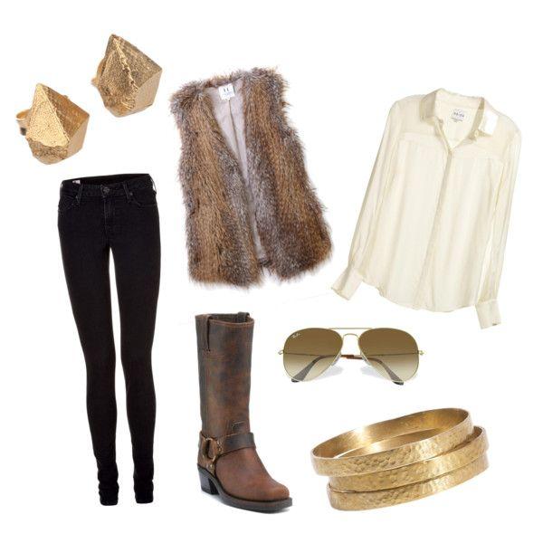 fur vest + gold....fur vest = gold