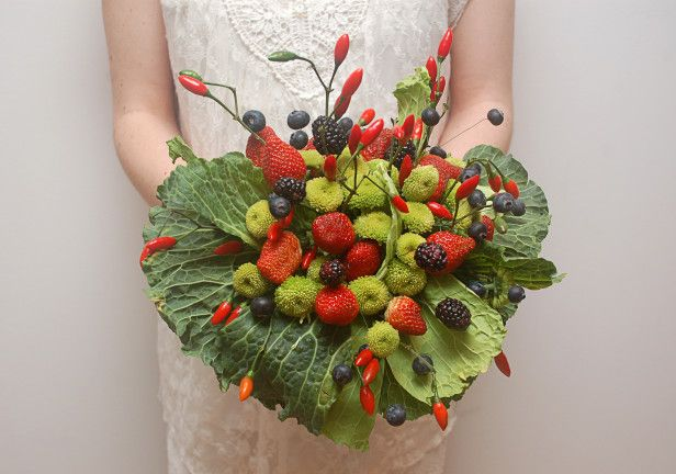 How To Make a Bouquet Out of Edibles! --> http://www.hgtvgardens.com/weddings/adding-fruits-and-vegetables-to-your-bouquet?soc=pinterest