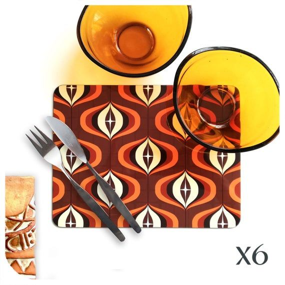 1970s Brown Placemats Set Of 6 70s Style Op Art Place Mats Etsy Brown Placemats Op Art Orange Decor