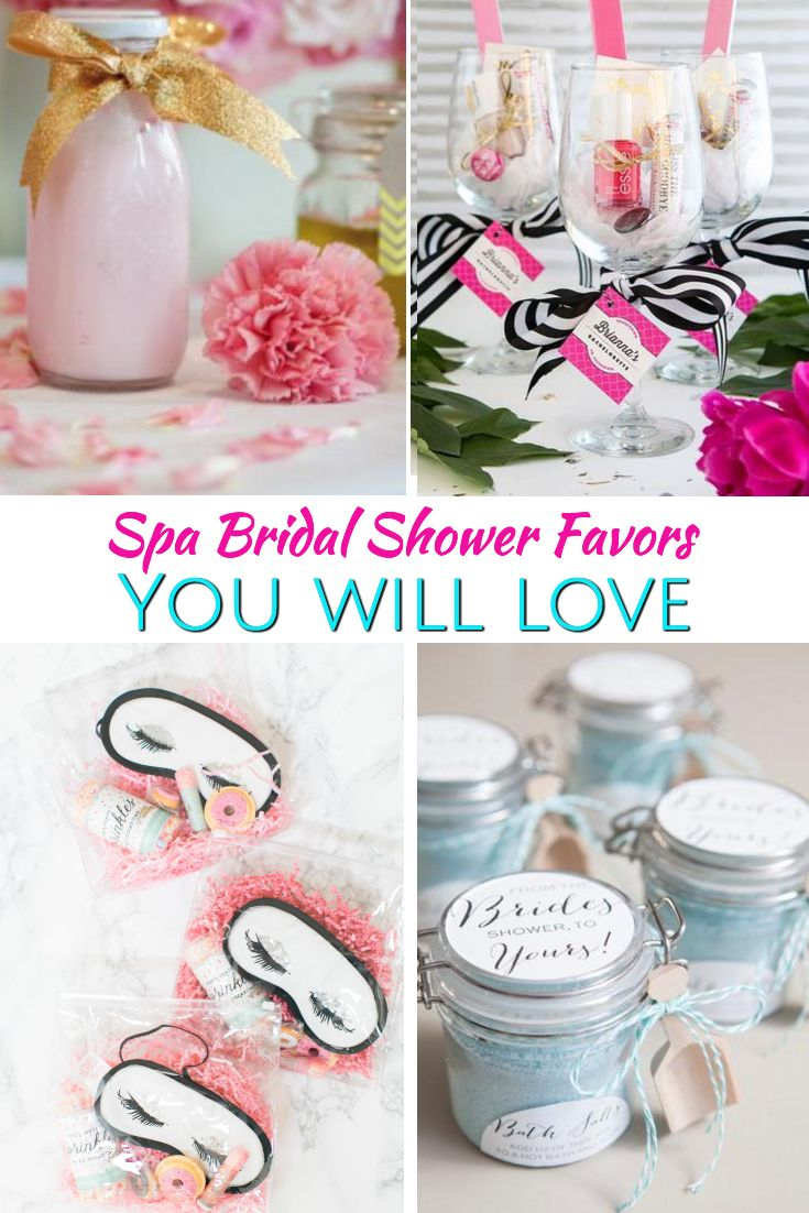 Bridal Shower Favors! Spa bridal shower party favor ideas. The best ideas for a spa theme bridal shower party. Your guests will love to take home any of the spa items from goodie bags, to wine glasses and more. Find the best spa bridal shower favors now!