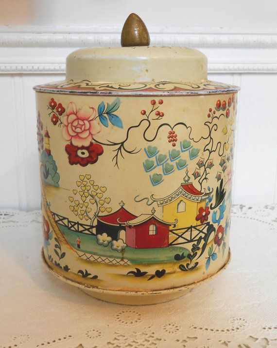 *****SOLD*****Sweet vintage tin Asian designs by Crybabe on Etsy, $6.00