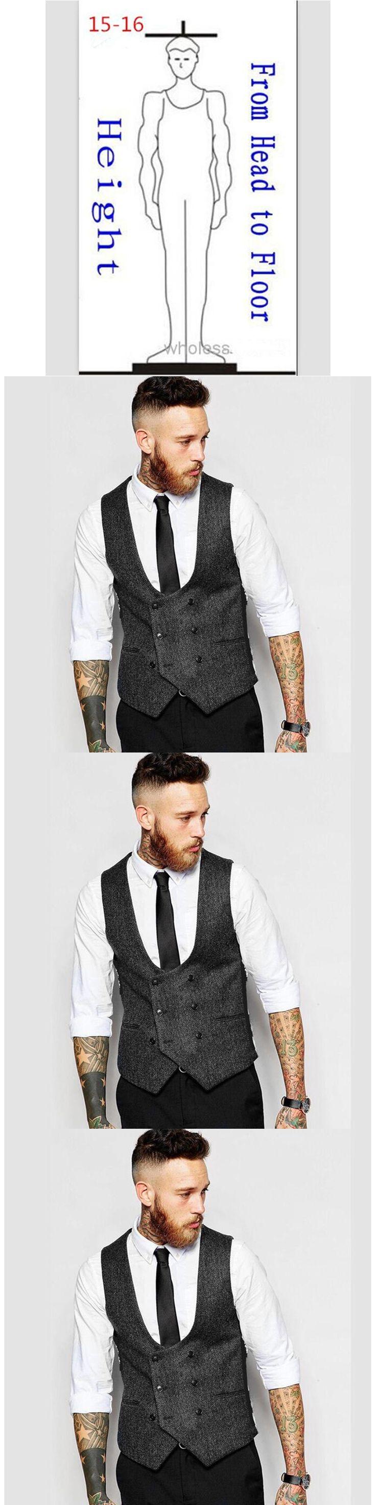 auguswu Custom Made New British Style Men's Vests Slim Woollen cloth Double Breasted Sleeveless Waistcoat Men Suit Vest