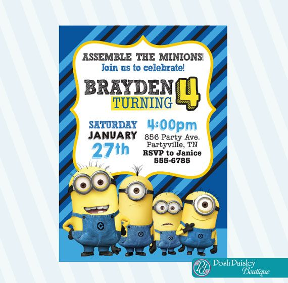 Hey, I found this really awesome Etsy listing at https://www.etsy.com/listing/263295988/minion-invitation-minion-birthday