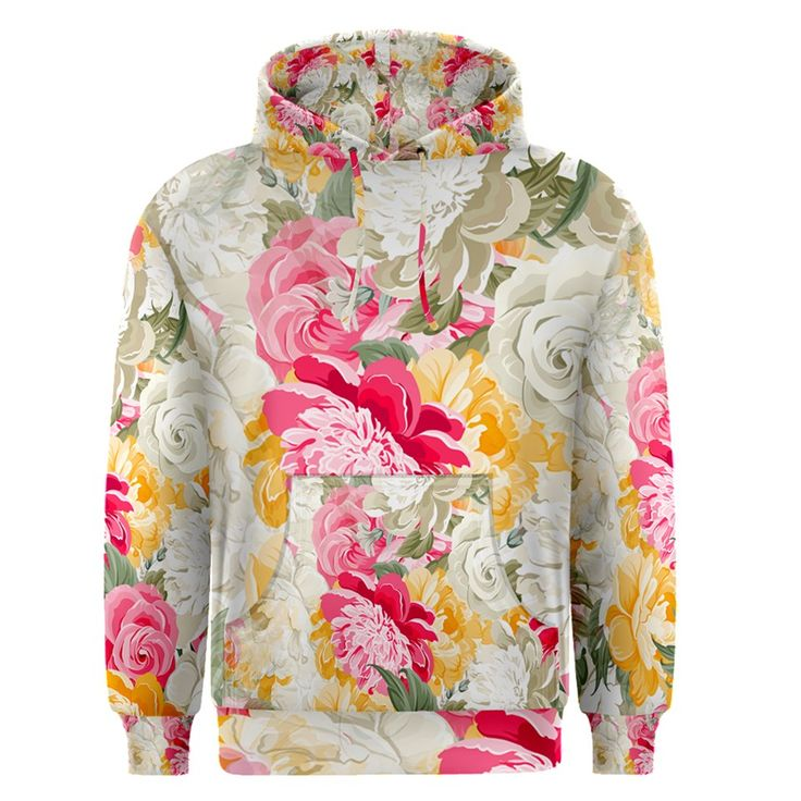 Colorful+Floral+Collage+Men's+Pullover+Hoodies