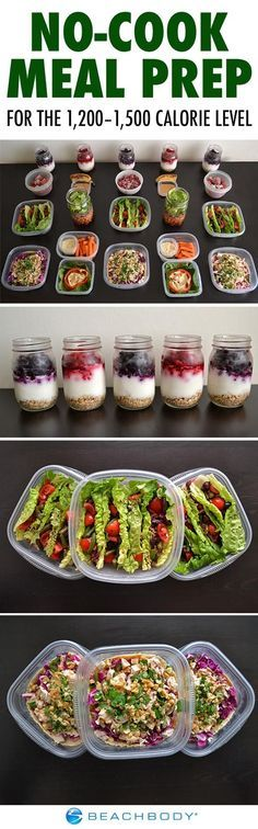 When it's too hot to turn on the stove or oven, a no-cook meal plan is the perfect way to prep your meals for the week. Get a complete guide for the 1,200 to 1,500 calorie level here! #mealprep #healthy