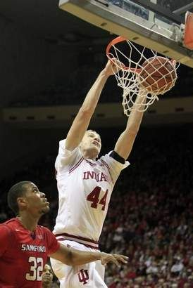 Indiana's Luke Fischer dunks the ball against Samford during the first half. Indiana University played Samford in their NCAA men's basketbal... #IUCollegeBasketball Go Hoosiers!
