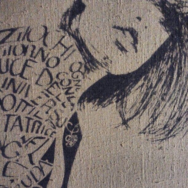 Serigrafia Calligramma su tela
