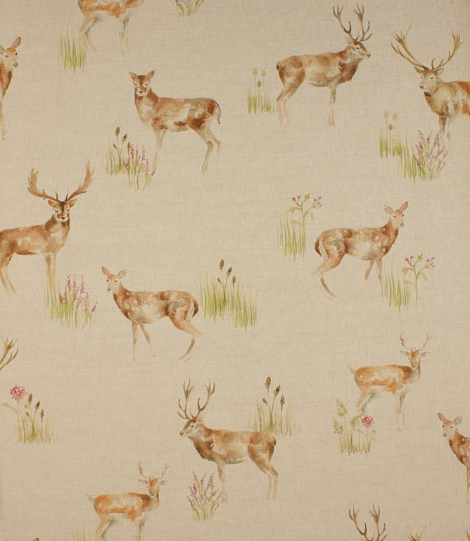 Wild deer fabric. A traditional country design made from a linen cotton mix. Great as a curtain material, also suitable for roman blinds and cushions. Buy this fabric online or from one our curtain fabric shops in Burford and Cheltenham.