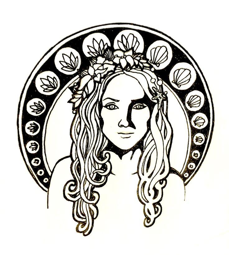 @cadence_ian on Instagram  Sirenity. Siren mermaid hippie girl tattoo. Art nouveau inspired