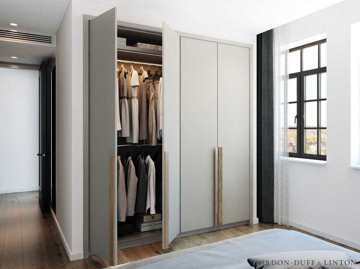 CGI of wardrobe with bespoke handles in conversion of old factory in North London. Crittall windows. #GD&LBespoke