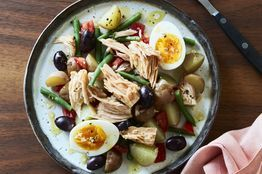 So many great ingredients are coming into the markets now—tomatoes, green beans, new potatoes. This simple salade Niçoise from chef Günter Seeger puts them front and center.