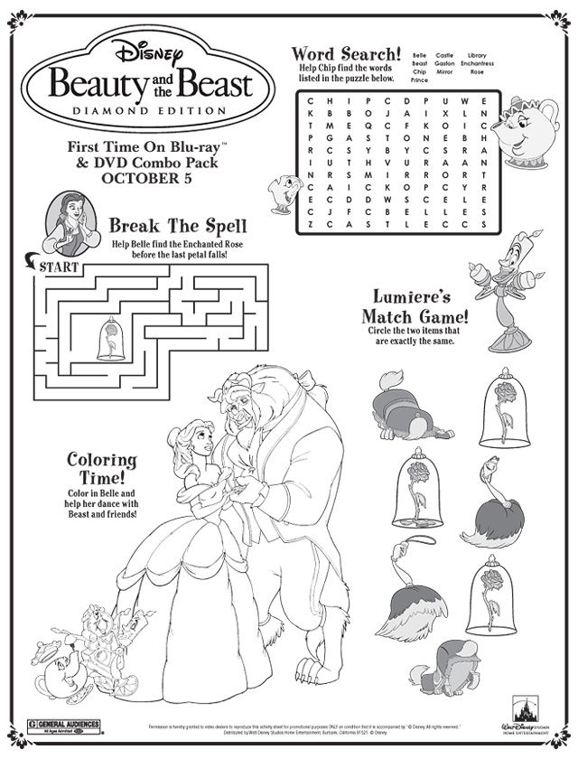 Beauty and the Beast Activity Sheet - Cant' save, direct printing. X
