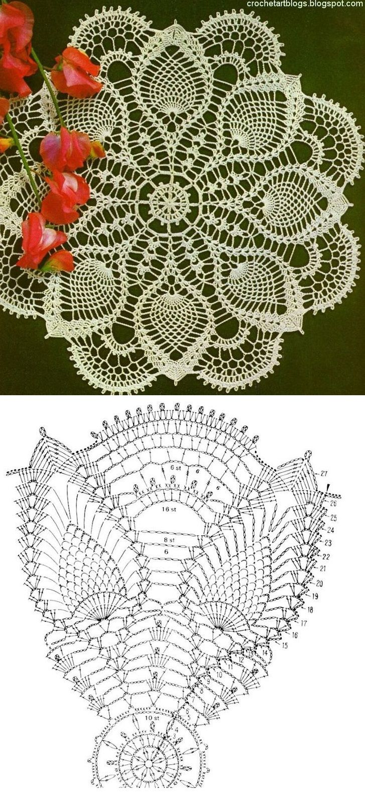 Crochet Lace Patterns Diagram : Meer dan 1000 idee?n over Crochet Doily Diagram op ...