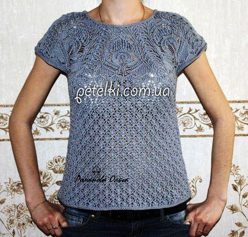 Пуловер спицами с ажурной кокеткой. Схемы с обозначениями