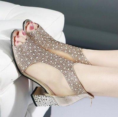 Moda para Mujer Malla Bling diamante de imitación Sandalias Med Tacón Bloque Cremallera Punta Abierta Zapatos