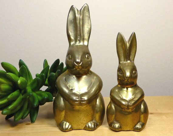 Pair of vintage brass bunny rabbit figurines by TheGreenFinch, $30.00