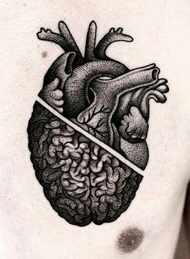 Tattoo // Coração cerebro #tiny_geometric_tattoo
