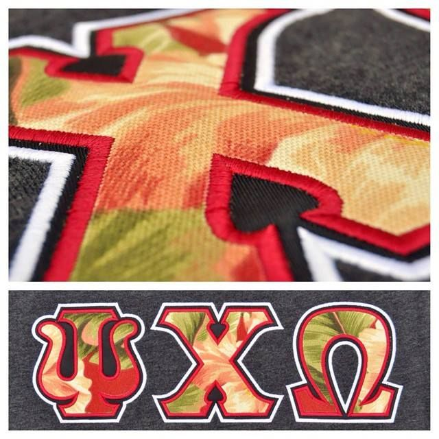 Check out this letter close up on a set of Psi Chi Omega letters! This lucky customer put the finishing touches on their letters by using custom fabric as their foreground. Satin stitch is still our standard on all of our in -house production here at Greek Life Threads, giving your letters a perfect finish! #gogreek #greeklife #glthreads #psichiomega #ΨΧΩ #newletters http://ift.tt/1JYAwXP