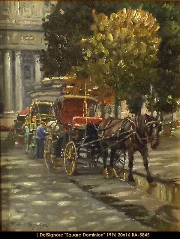 Original oil painting on canevas by Littorio Del Signore #Littoriodelsignore #artist #canadianartist #quebecartist #art #fineart #figurativeart #originalpainting #oilpainting #summerscene #cityscene #horsebuggy #balcondart #multiart