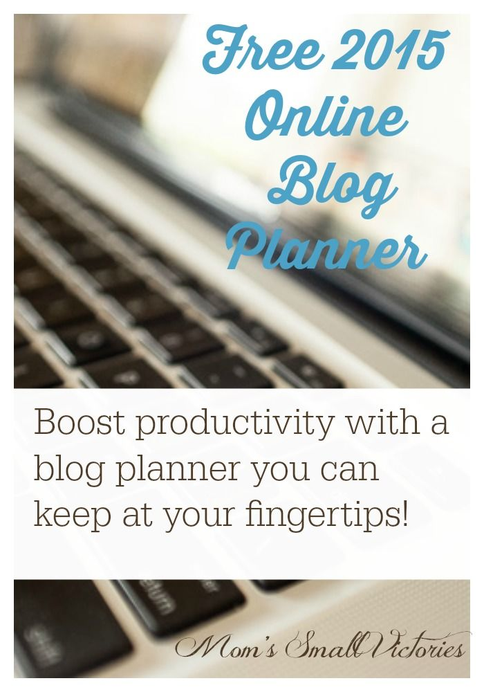 Free 2015 Online Blog Planner - Boost your productivity with a blog planner you can keep at your fingertips! Use with Google Drive, Excel or printable