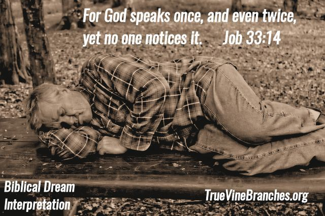 For God speaks once, and even twice, yet no one notices it. Job 33:14 - God is speaking through dreams of the night and many do not realize He is speaking to them. For more info on biblical dream interpretation, please visit www.truevinebranches.org
