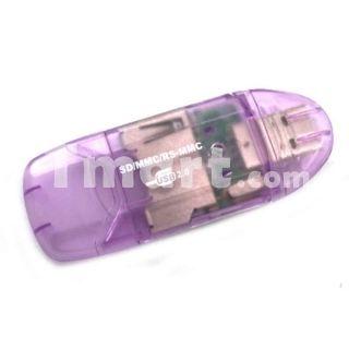 New USB 2.0 MMC SD SDHC Memory Card Writer/Reader Purple