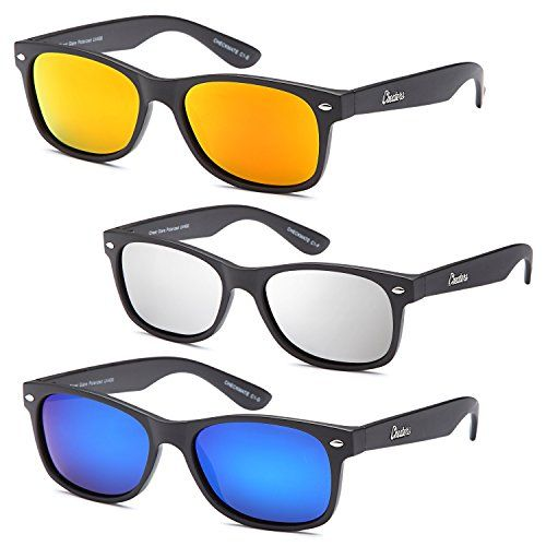 GAMMA RAY CHEATERS 3 Pack Combo Polarized Flat Black Frame Sunglasses in Polarized Reflective Revo UV400 Lenses