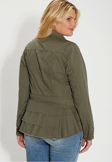 plus size military jacket with ruffled back - maurices.com