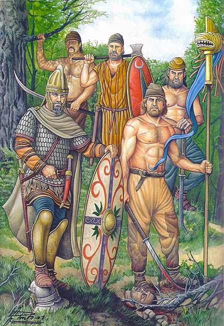 Dacians - Ángel García Pinto; note the three-hand falx handle, the falx blade sharpen, erroneously, on the outer edge; and of course, the perfect 6pack of the men (there are no sources attesting to the Dacian fighting bare-chested like the Germans)