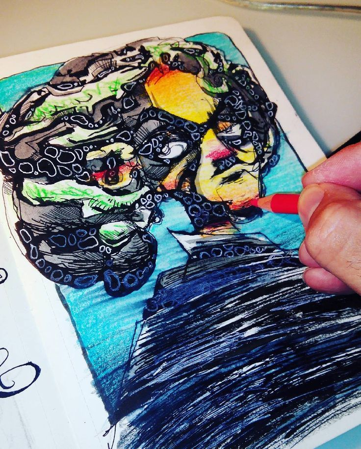 malos despertares. tinta, acurarela y lápices de colores