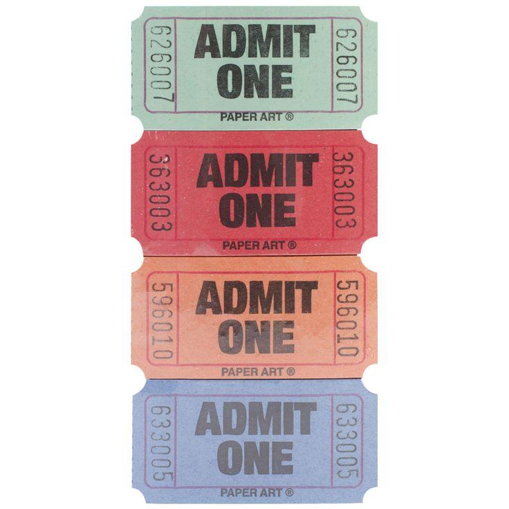 Admit One Tickets 2000 Tickets/RollRed, Blue, & Green