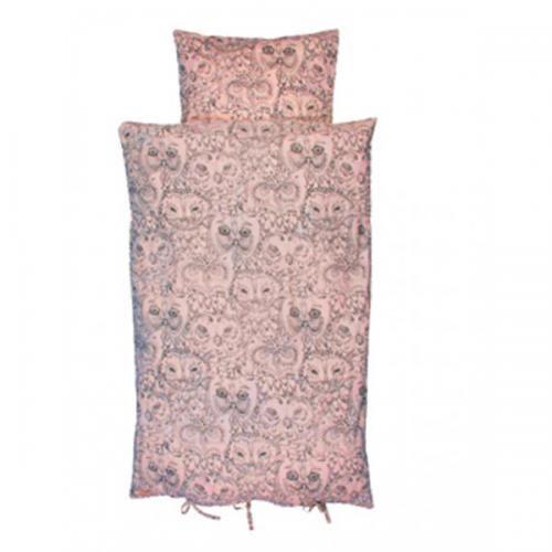 lys rosa / coral favet sengetøj med ugler fra Soft gallary