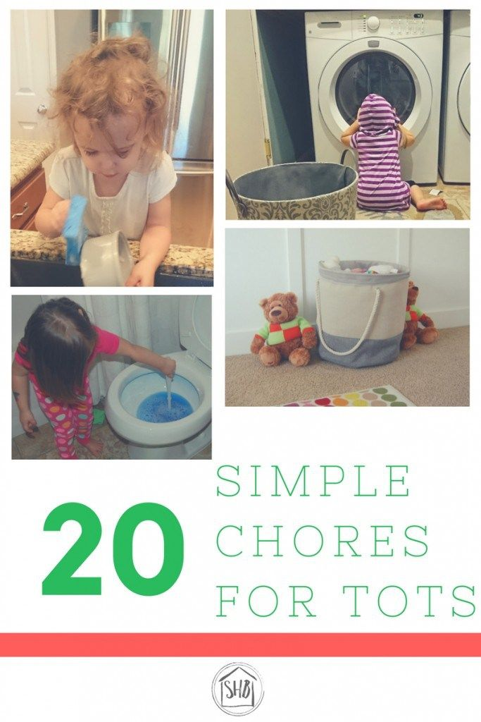 20+ Simple Chores for Tots - ideas to teach kids how to help around the house.  With tips for teaching kids how to do chores.
