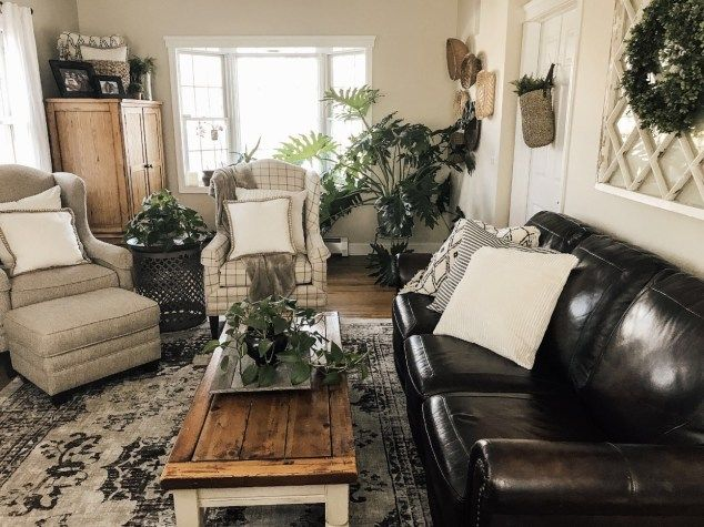 Modern Farmhouse Living Room Farm, Cottage Style Living Room With Leather Couch